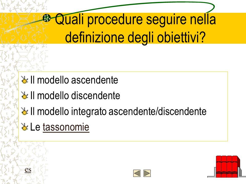 Quali procedure seguire nella definizione degli obiettivi