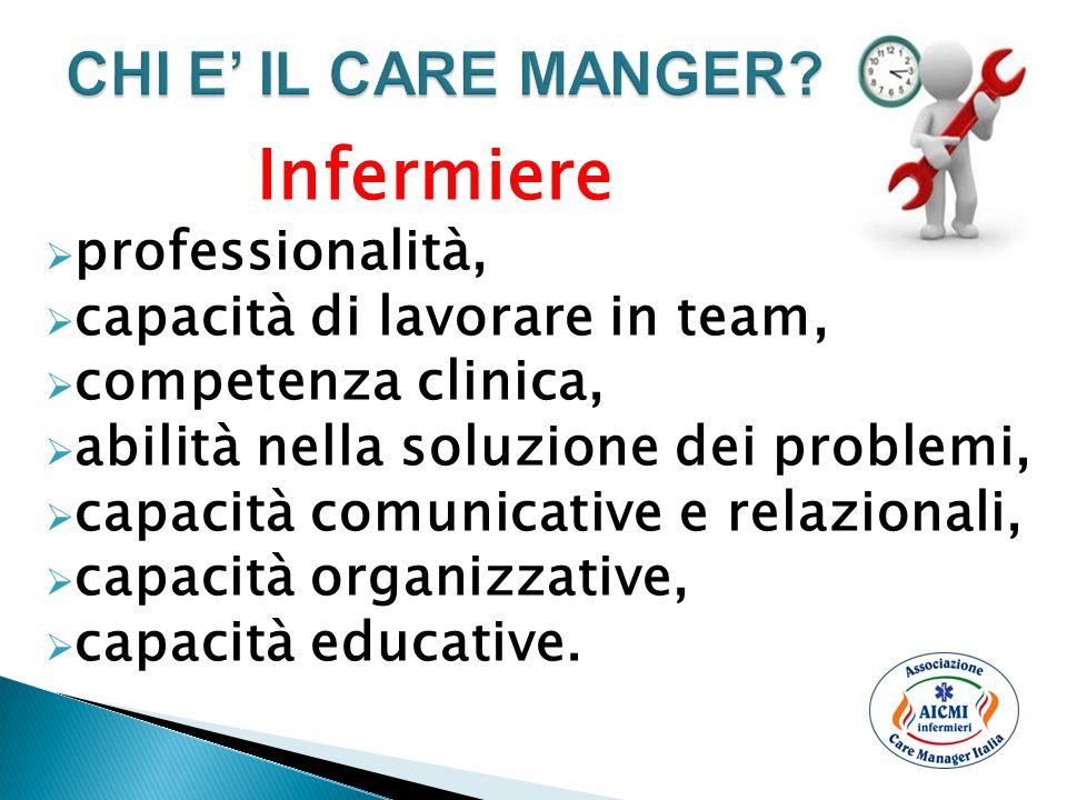 CHI E' IL CARE MANGER professionalità, capacità di lavorare in team,