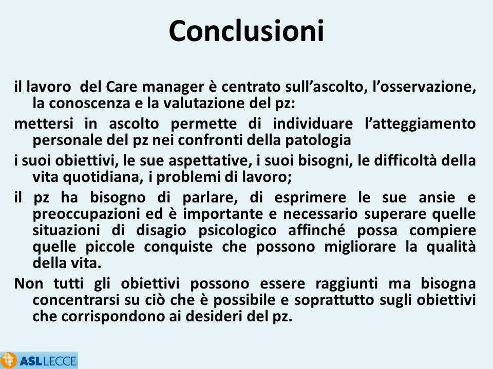 Conclusioni il lavoro del Care manager è centrato sull'ascolto, l'osservazione, la conoscenza e la valutazione del pz: