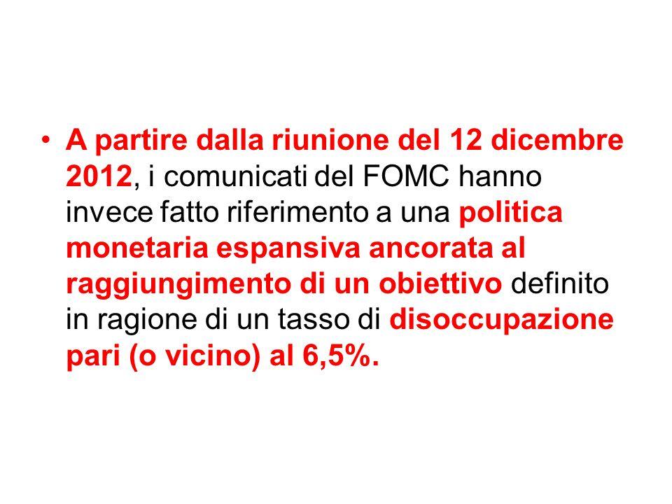 A partire dalla riunione del 12 dicembre 2012, i comunicati del FOMC hanno invece fatto riferimento a una politica monetaria espansiva ancorata al raggiungimento di un obiettivo definito in ragione di un tasso di disoccupazione pari (o vicino) al 6,5%.
