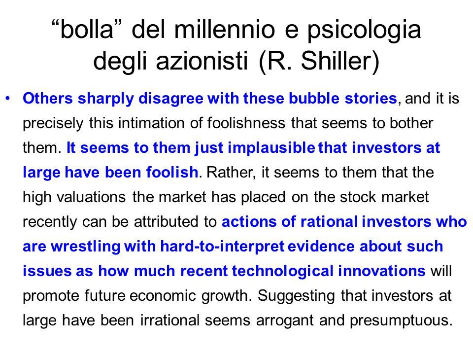 bolla del millennio e psicologia degli azionisti (R. Shiller)