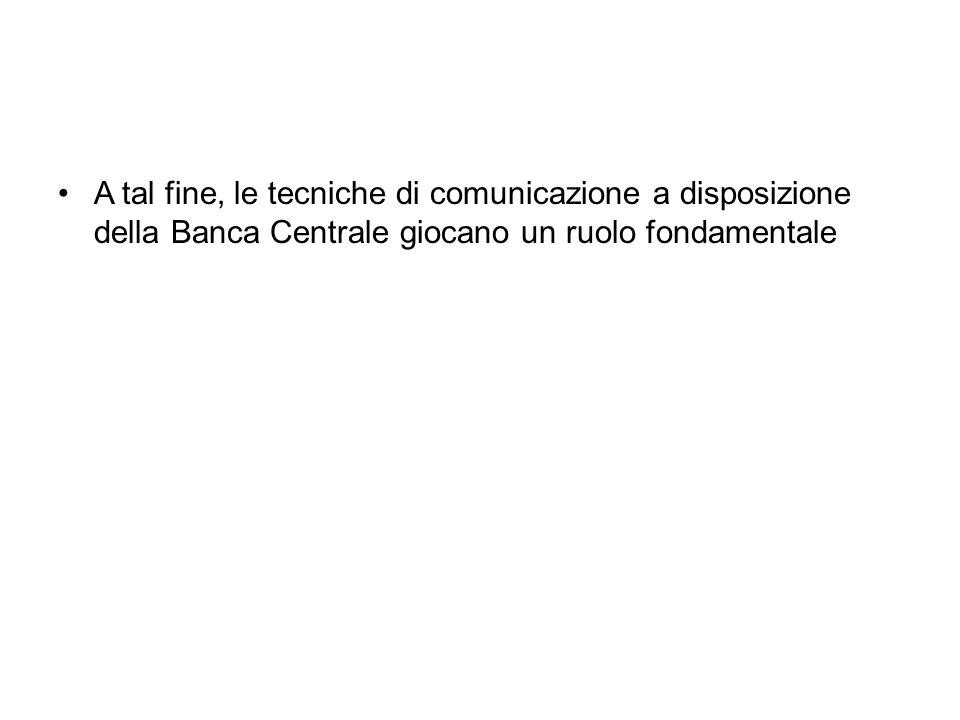 A tal fine, le tecniche di comunicazione a disposizione della Banca Centrale giocano un ruolo fondamentale