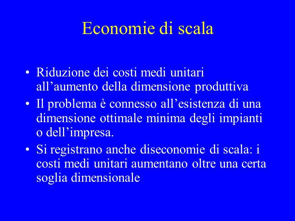 Economie di scala Riduzione dei costi medi unitari all'aumento della dimensione produttiva.