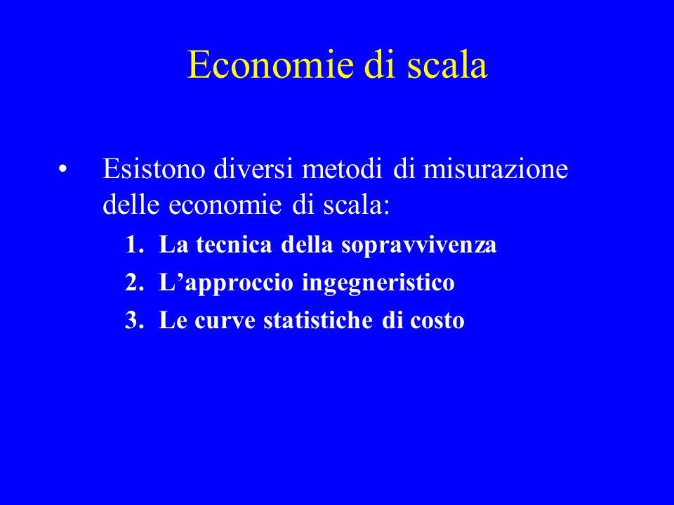 Economie di scala Esistono diversi metodi di misurazione delle economie di scala: La tecnica della sopravvivenza.