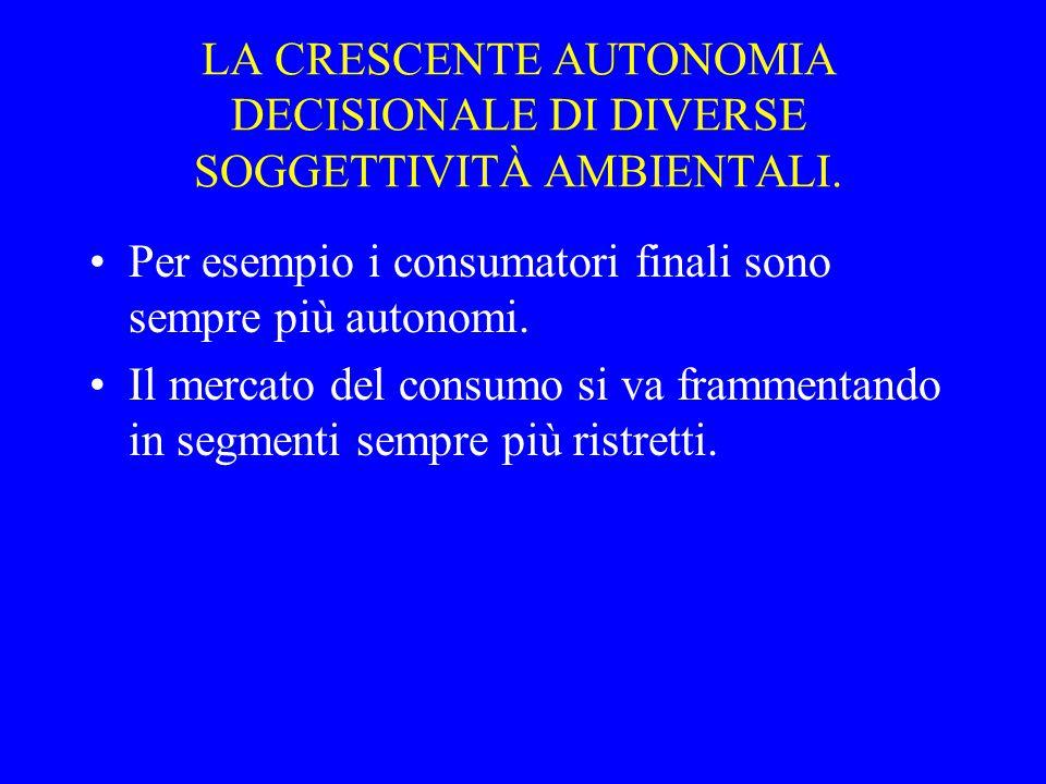 LA CRESCENTE AUTONOMIA DECISIONALE DI DIVERSE SOGGETTIVITÀ AMBIENTALI.