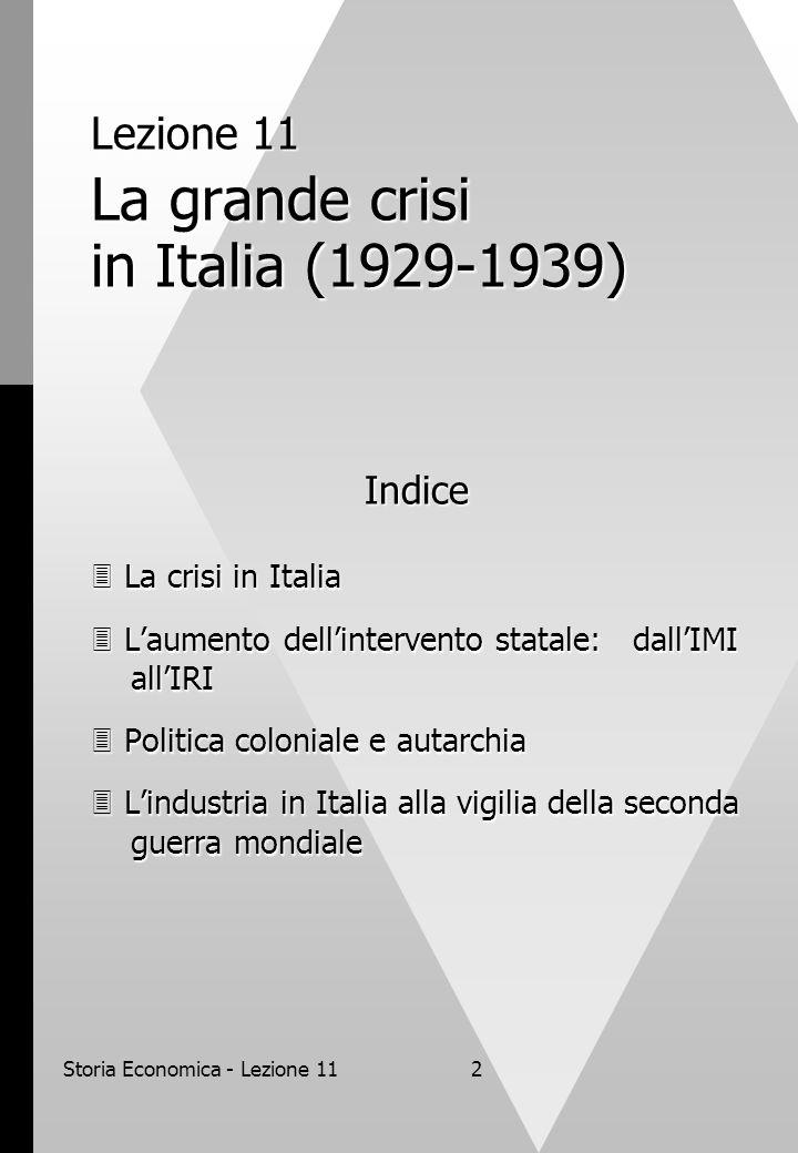 Lezione 11 La grande crisi in Italia (1929-1939)