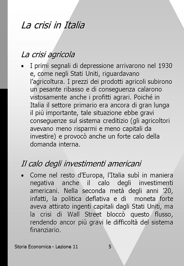 Storia Economica - Lezione 11