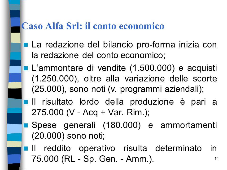 Caso Alfa Srl: il conto economico