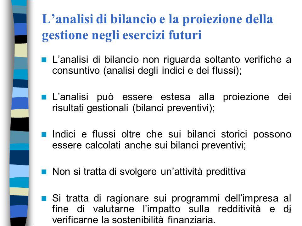 L'analisi di bilancio e la proiezione della gestione negli esercizi futuri
