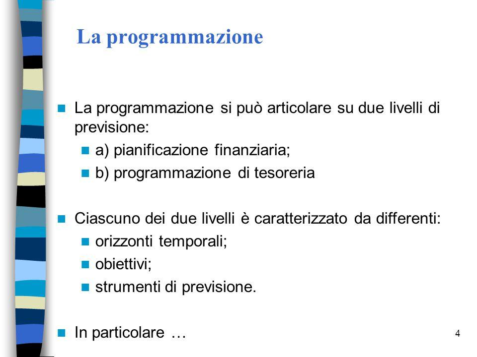La programmazione La programmazione si può articolare su due livelli di previsione: a) pianificazione finanziaria;