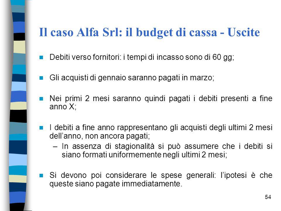 Il caso Alfa Srl: il budget di cassa - Uscite