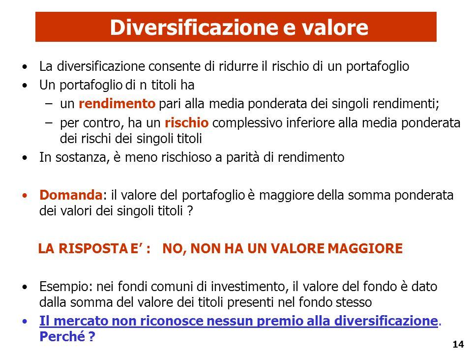 Diversificazione e valore