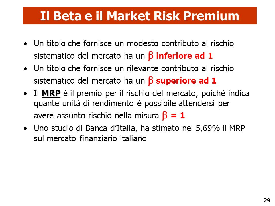 Il Beta e il Market Risk Premium