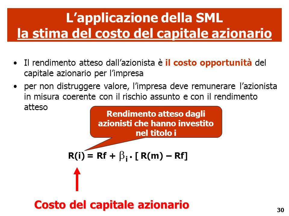 L'applicazione della SML la stima del costo del capitale azionario