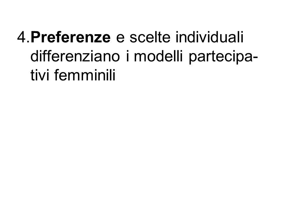 4.Preferenze e scelte individuali differenziano i modelli partecipa- tivi femminili