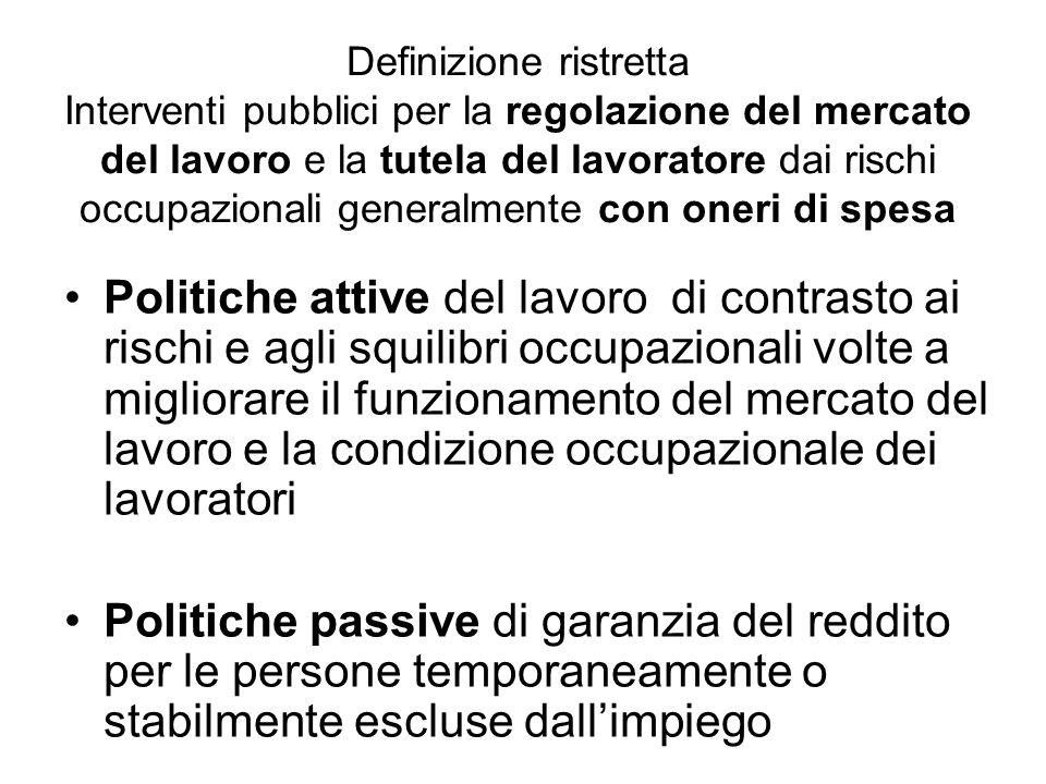 Definizione ristretta Interventi pubblici per la regolazione del mercato del lavoro e la tutela del lavoratore dai rischi occupazionali generalmente con oneri di spesa