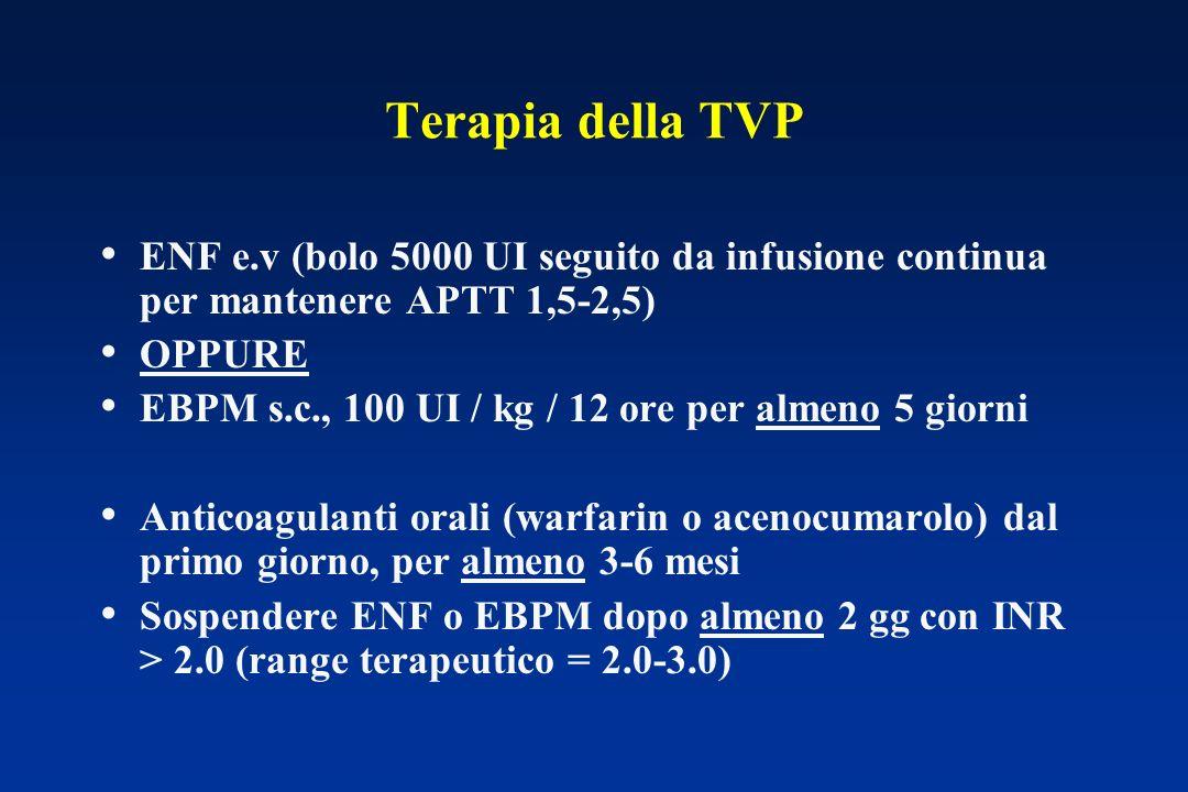 Terapia della TVP ENF e.v (bolo 5000 UI seguito da infusione continua per mantenere APTT 1,5-2,5) OPPURE.