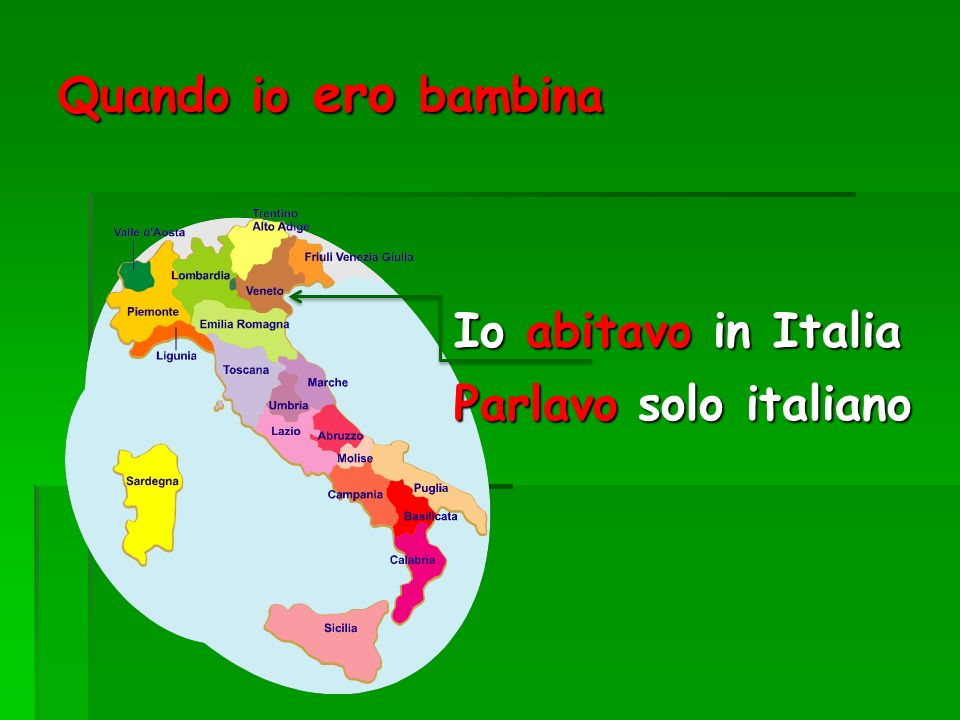 Quando io ero bambina Io abitavo in Italia Parlavo solo italiano