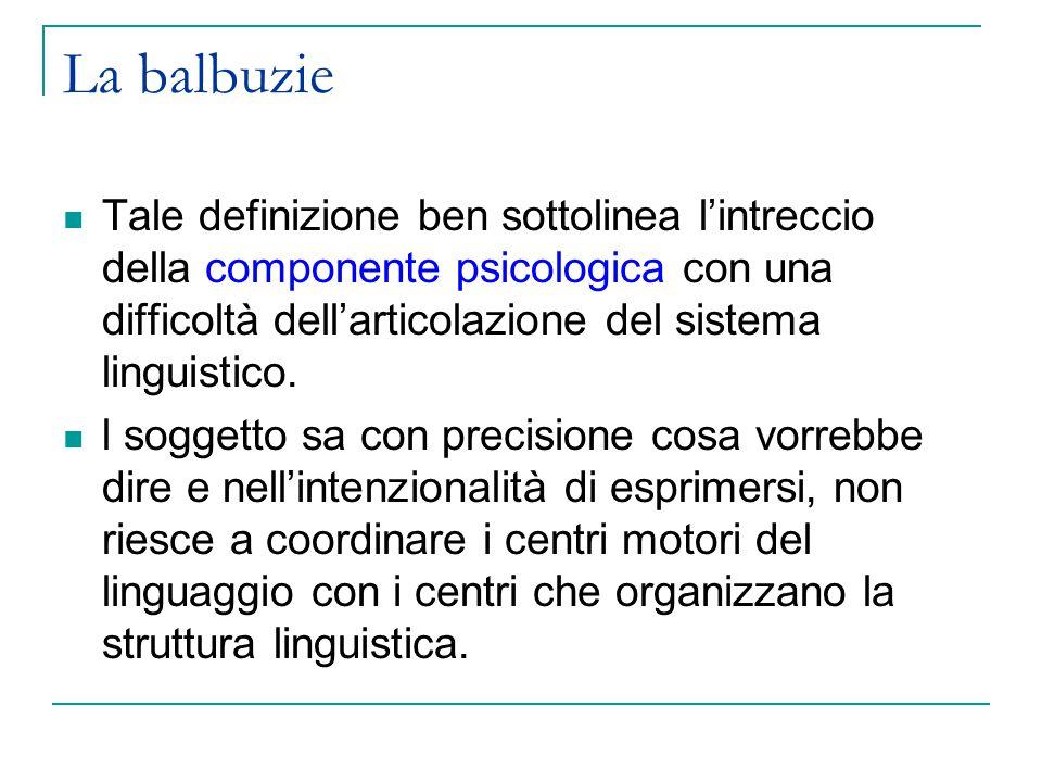 La balbuzie Tale definizione ben sottolinea l'intreccio della componente psicologica con una difficoltà dell'articolazione del sistema linguistico.