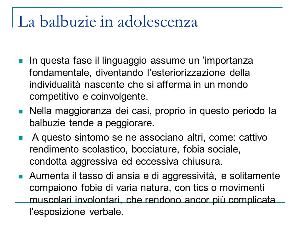 La balbuzie in adolescenza