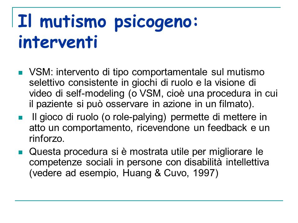 Il mutismo psicogeno: interventi