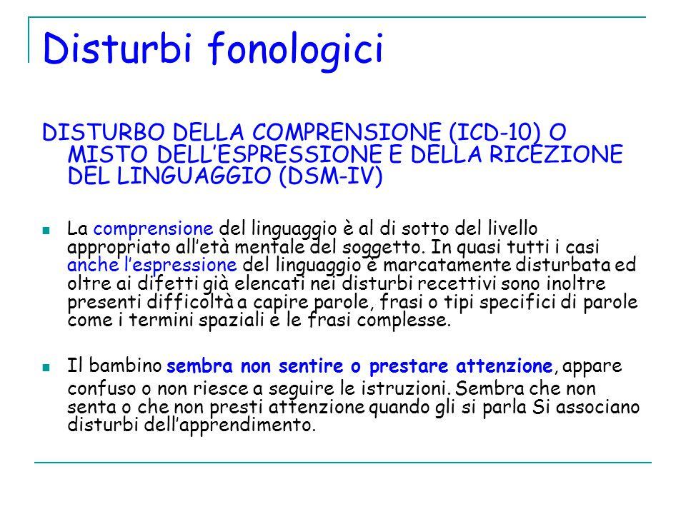 Disturbi fonologici DISTURBO DELLA COMPRENSIONE (ICD-10) O MISTO DELL'ESPRESSIONE E DELLA RICEZIONE DEL LINGUAGGIO (DSM-IV)