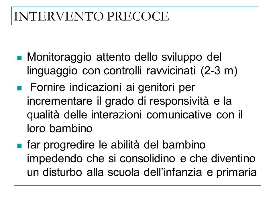 INTERVENTO PRECOCE Monitoraggio attento dello sviluppo del linguaggio con controlli ravvicinati (2-3 m)