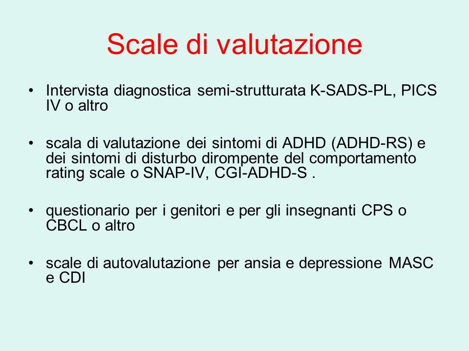 Scale di valutazione Intervista diagnostica semi-strutturata K-SADS-PL, PICS IV o altro.