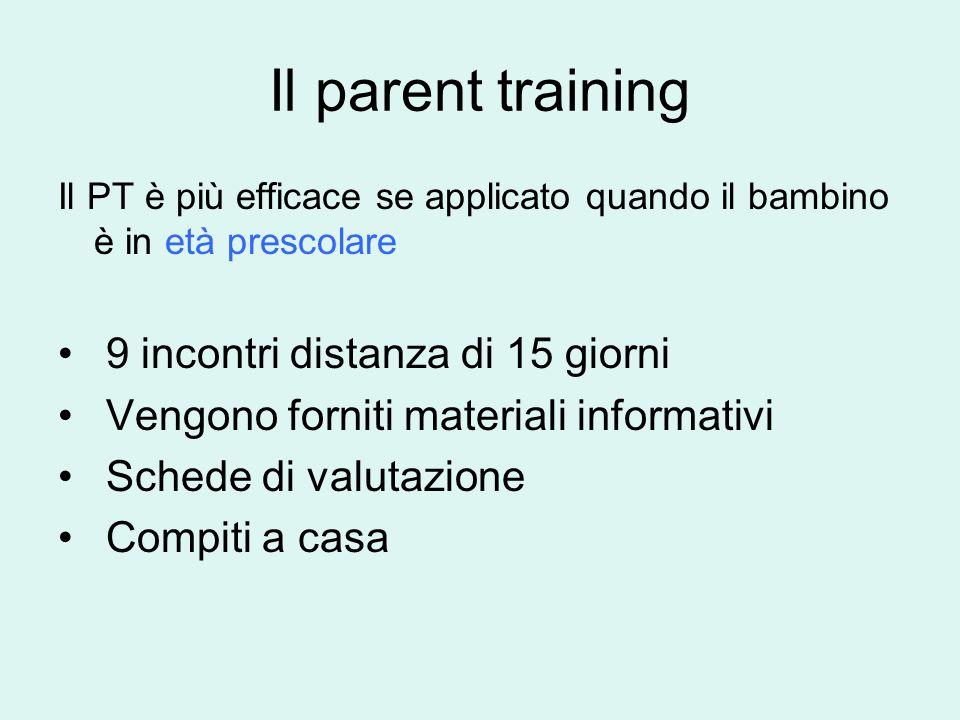 Il parent training 9 incontri distanza di 15 giorni