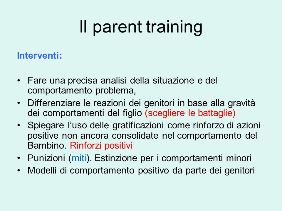 Il parent training Interventi:
