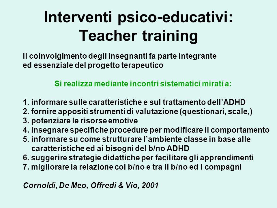 Interventi psico-educativi: Teacher training