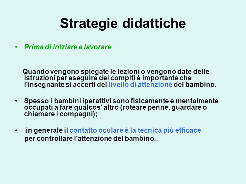 Strategie didattiche Prima di iniziare a lavorare