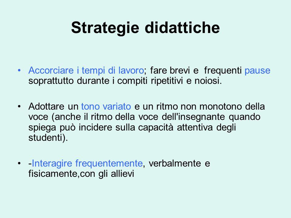 Strategie didattiche Accorciare i tempi di lavoro; fare brevi e frequenti pause soprattutto durante i compiti ripetitivi e noiosi.