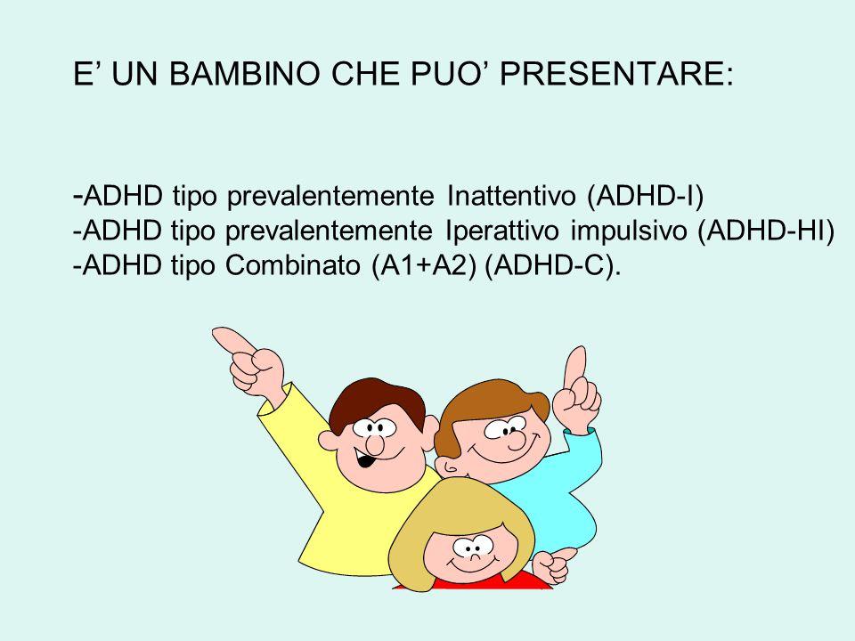 E' UN BAMBINO CHE PUO' PRESENTARE: -ADHD tipo prevalentemente Inattentivo (ADHD-I) -ADHD tipo prevalentemente Iperattivo impulsivo (ADHD-HI) -ADHD tipo Combinato (A1+A2) (ADHD-C).