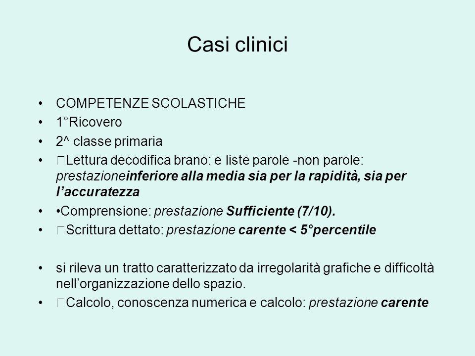 Casi clinici COMPETENZE SCOLASTICHE 1°Ricovero 2^ classe primaria