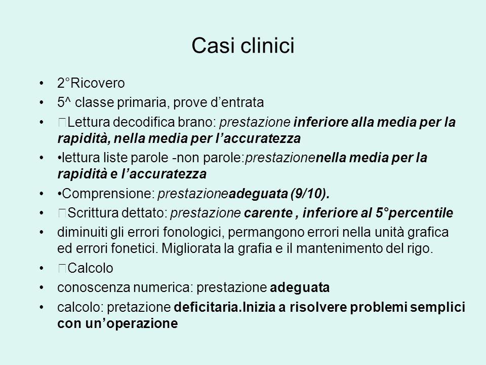 Casi clinici 2°Ricovero 5^ classe primaria, prove d'entrata