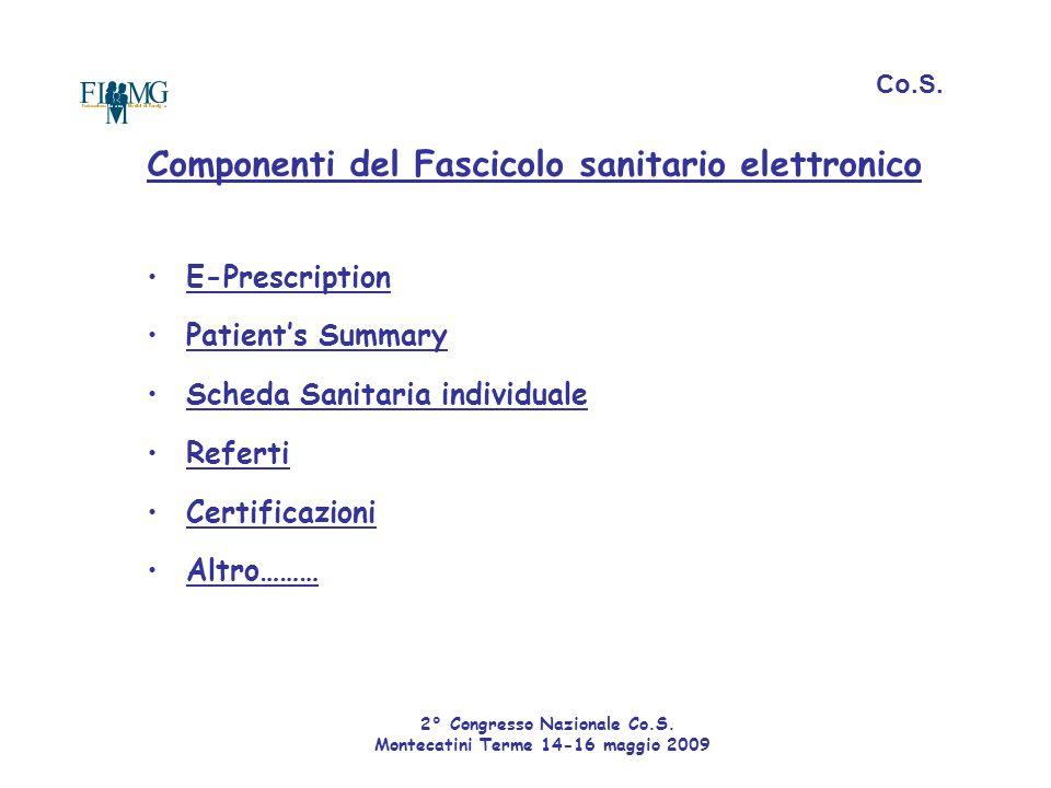 Componenti del Fascicolo sanitario elettronico