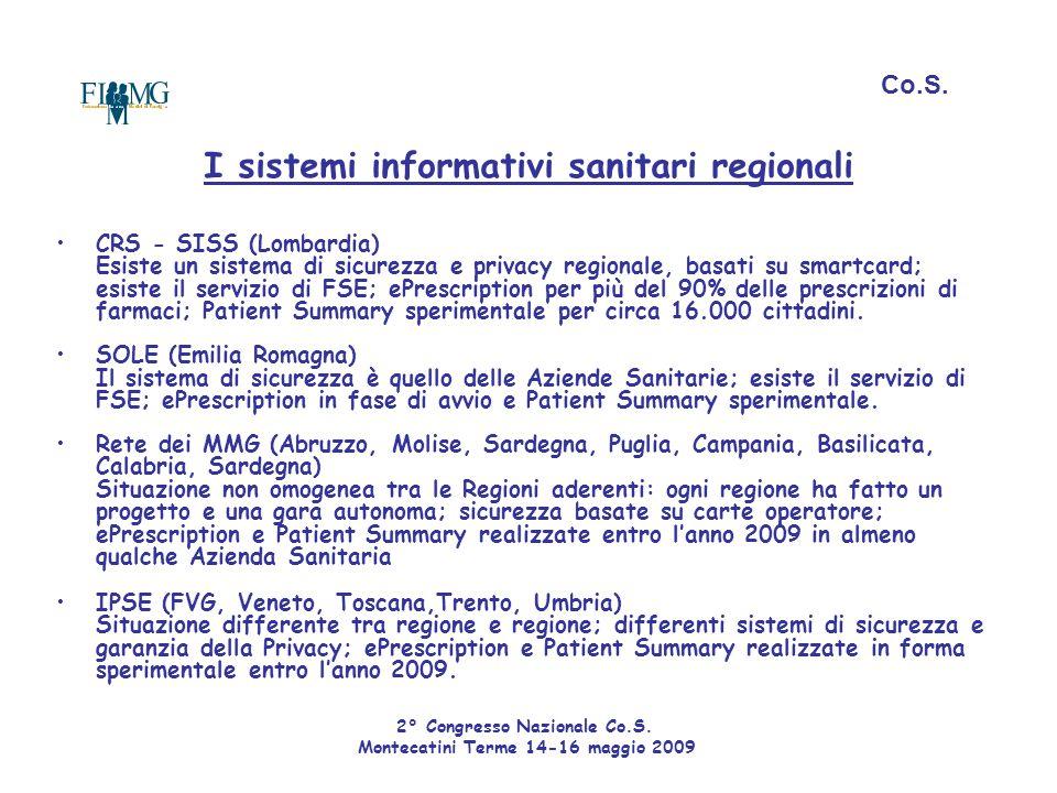 Co.S. I sistemi informativi sanitari regionali.