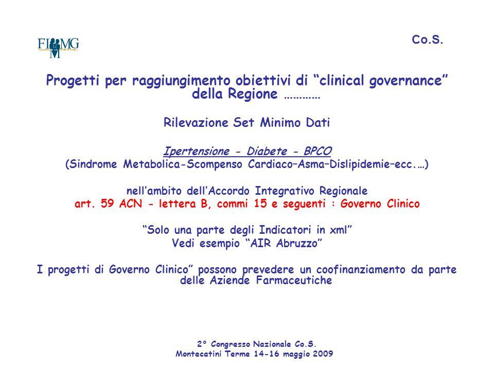 Co.S. Progetti per raggiungimento obiettivi di clinical governance della Regione ………… Rilevazione Set Minimo Dati.