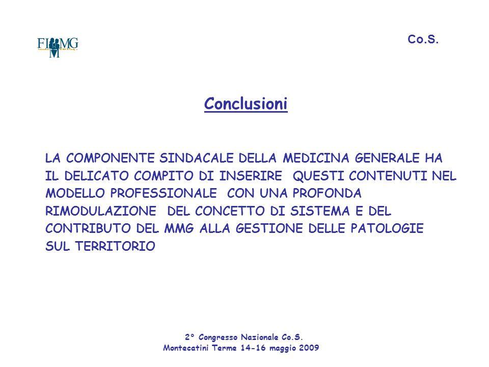 Conclusioni Co.S. LA COMPONENTE SINDACALE DELLA MEDICINA GENERALE HA