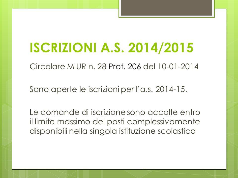 ISCRIZIONI A.S. 2014/2015