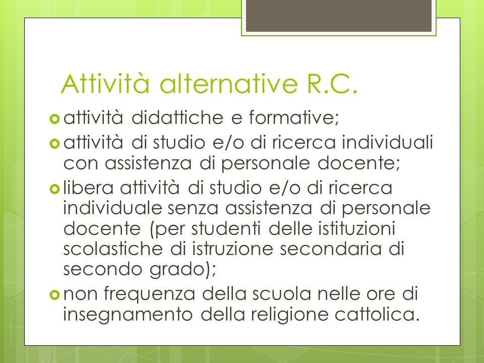 Attività alternative R.C.