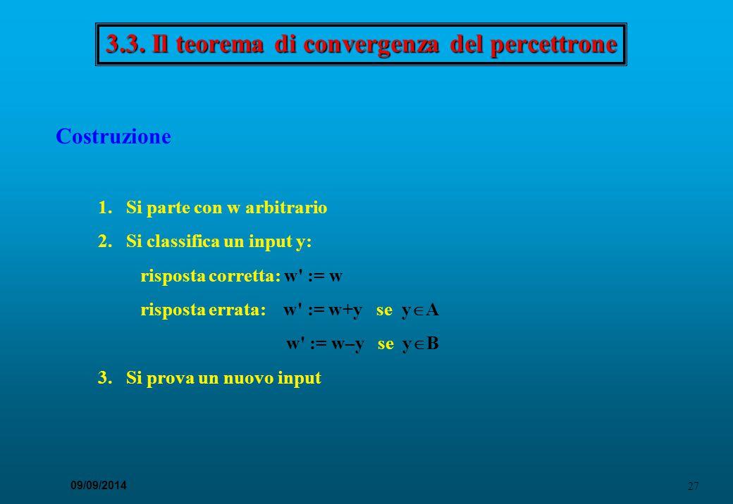 3.3. Il teorema di convergenza del percettrone