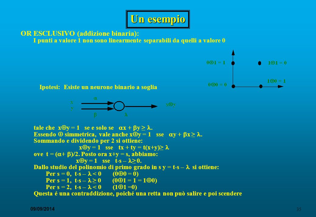Un esempio OR ESCLUSIVO (addizione binaria):