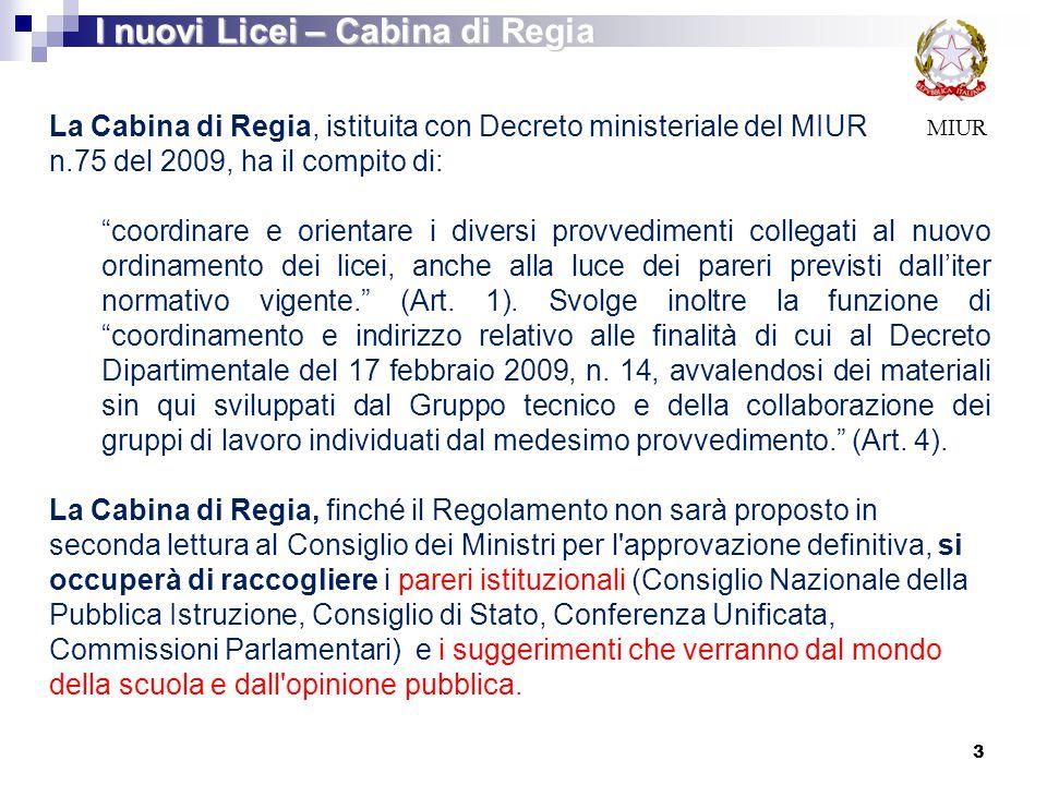 I nuovi Licei – Cabina di Regia