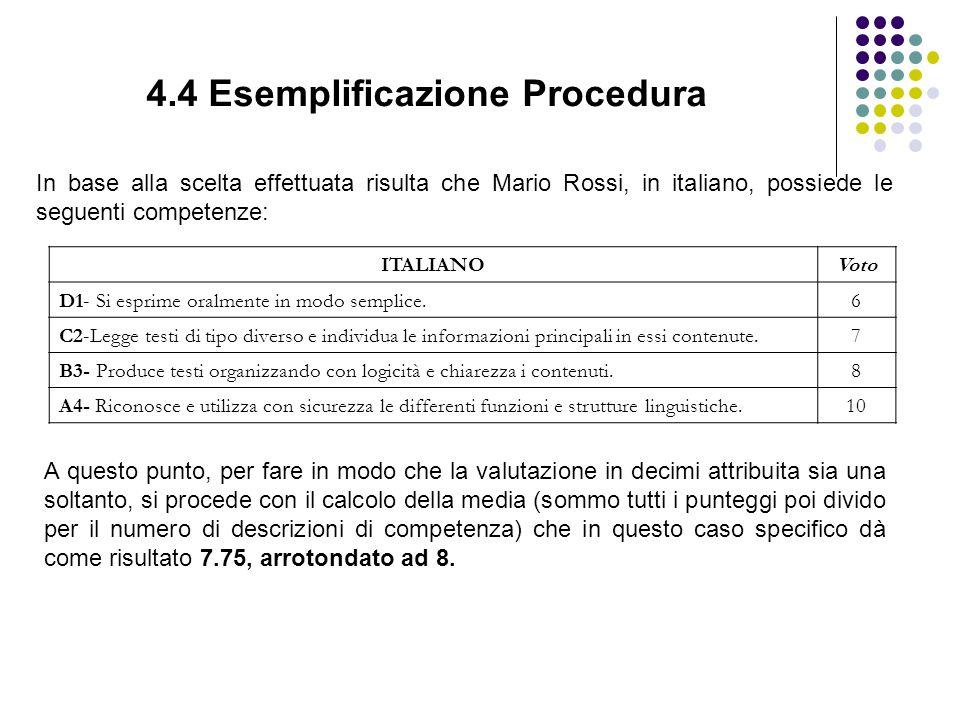 4.4 Esemplificazione Procedura