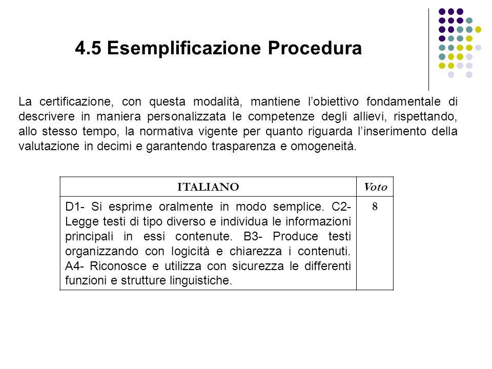4.5 Esemplificazione Procedura