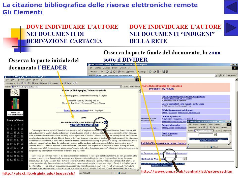 La citazione bibliografica delle risorse elettroniche remote