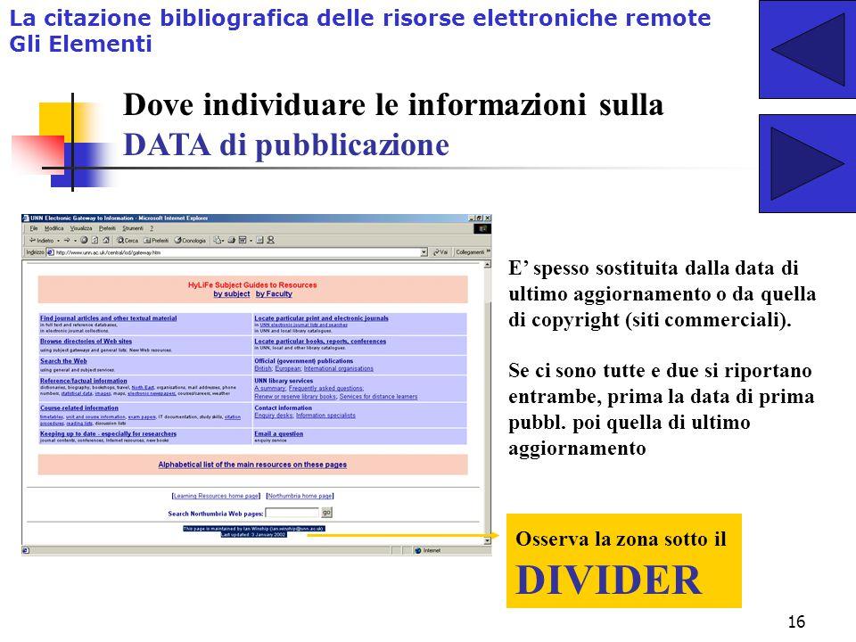 Dove individuare le informazioni sulla DATA di pubblicazione