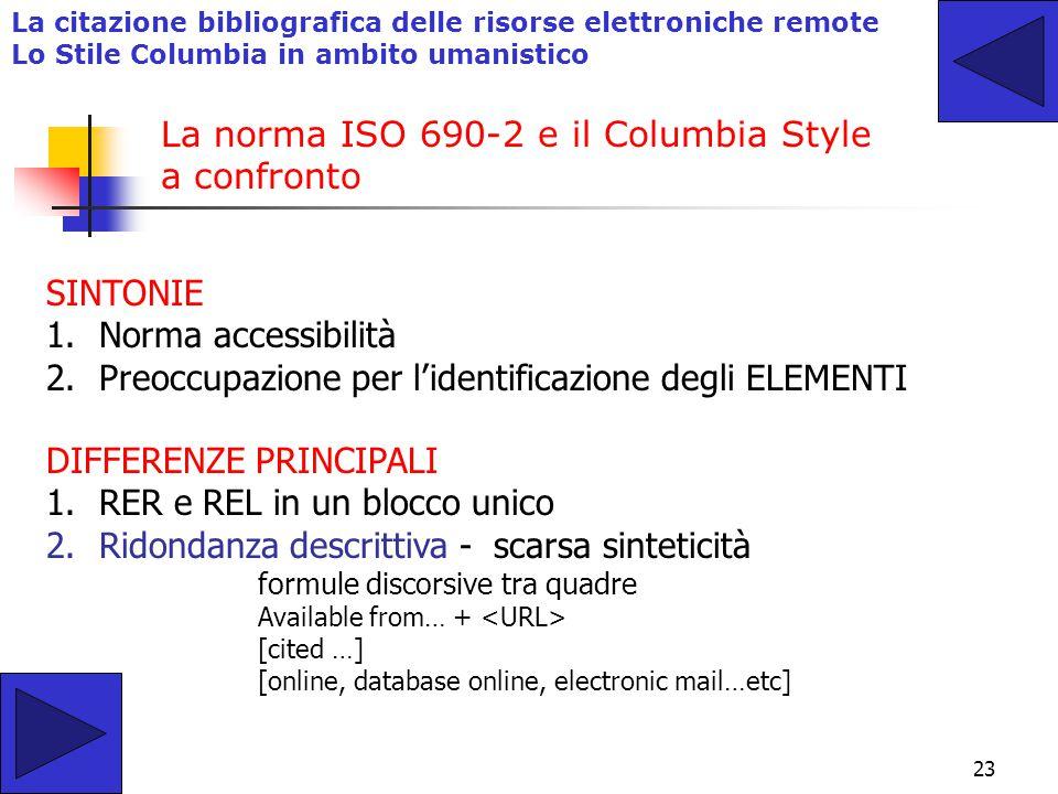 La norma ISO 690-2 e il Columbia Style a confronto